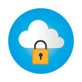 Color circular frame with secure padlock cloud service