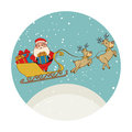 Color circular shape with santa claus in sleigh with reindeers and presents