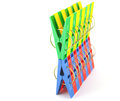 Color clothes pegs over white Stock Photos