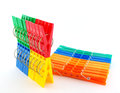 Color clothes pegs over white set multi Royalty Free Stock Images