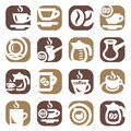 Color coffee icons set created for mobile web and applications Stock Photography