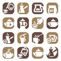 Color coffee and tea icons set created for mobile web applications Royalty Free Stock Images