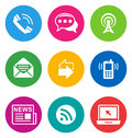 Color communication icons Royalty Free Stock Images