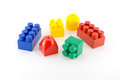 Color components of child s meccano over white Royalty Free Stock Photos