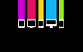Color computer device set on black background Stock Photo