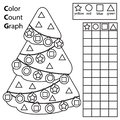 Color, count and graph. Educational children game. Color Christmas spruce tree and counting shapes. Printable worksheet for kids