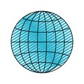 Color crayon silhouette front view globe earth world chart with lines Royalty Free Stock Photo