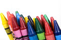 Color crayons background Stock Photos