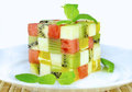 Color cubes of fruits a decotration Royalty Free Stock Image