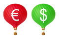 Color currency hot air balloons Royalty Free Stock Photo