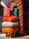 Color cushions on the open market in marakesh morocco Stock Photo