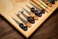 Color detail of a Backgammon game with two dice Royalty Free Stock Photo