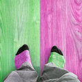 Color diversity concept abstract two feet on floor creative background Royalty Free Stock Photography
