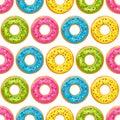 Color donut pattern. Glazed donuts background. Vector illustration