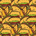 Seamless pattern with chaotic fastfood symbols