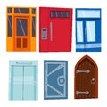 Color door front to house and building flat design style isolated vector illustration modern new decoration open elegant