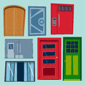 Color door front to house and building flat design style vector illustration modern new decoration open elegant Royalty Free Stock Photo