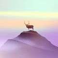 Color drawing of a deer on the mountain