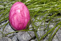 Color easter egg with stones and grass Royalty Free Stock Photo