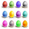 Color easter eggs in the nest Stock Photo