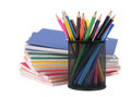 Color exercise book and holder with pencil Stock Photography