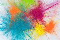 Color explosion concept with holi powder closeup Royalty Free Stock Photo