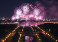 Color explosions of the international firework festival in the campus of moscow state university are reflect water and is Royalty Free Stock Image