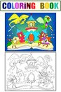 Color fairy open book tale concept kids illustration with evil dragon, brave warrior and magic castle. Coloring, black