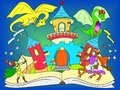 Color fairy open book tale concept kids illustration with evil dragon, brave warrior and magic castle. Royalty Free Stock Photo