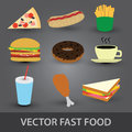 Color fast food icons eps of Stock Image