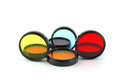 Color filters for lenses over white Royalty Free Stock Images