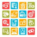 Color finance icons set business and financial Royalty Free Stock Photos