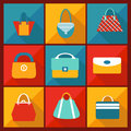Color flat icon of fashion bag beauty womenï s bags modern style Stock Image
