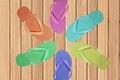 Color flip-flop over wooden texture close-up