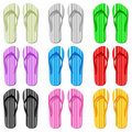 Color flip flop set Stock Photography