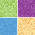 Color floral seamless backgrounds with nature set vector Stock Images
