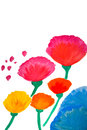 Color flowers in watercolor hand painted Stock Images
