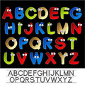 Color font alphabet with eyes illustration Stock Photography