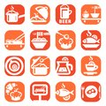 Color food icon set and kitchen icons created for mobile web and applications Stock Photos