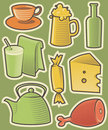 Color food icons Royaltyfria Bilder
