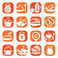 Color food icons vector set created for mobile web and applications Royalty Free Stock Images