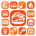 Color food and kitchen icons set created for mobile web applications Stock Image