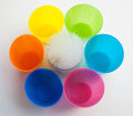 Color full cups many plastic Stock Photography