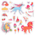 Color fun stickers with unicorn, cloud, cake, sweets and ice-cream