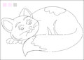 Color it game cat for kids coloring activity additional format Royalty Free Stock Image