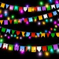 Color garland, festive decorations. Glowing christmas lights and