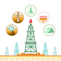 Color gas rig and circle icons with stages of process