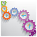 Color Gears Infographics Number Options Banner Royalty Free Stock Photo