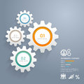 Color gears infographics number options banner card vector illustration Royalty Free Stock Photos