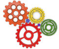Color gears on white background d rendered six abstract done in Stock Image
